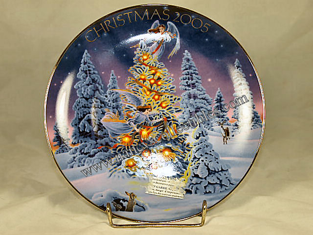 avon christmas plate angel lights 2005