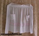 Pink and White Embroidered Apron