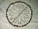 Hand-Crocheted Brown and White Doily