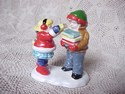 Original Snow Village - Check It Out Bookmobile Set-view 2-Boy and Girl w/books