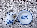 Miniature Blue and White Bowl and Pitcher Set